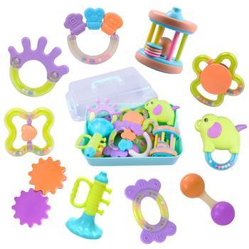 IPlay zestaw grzechotki dla dzieci niemowlęta ząbkowanie zabawki niemowlęta do żucia gryzak silikonowy Shaker Grab tanie i dobre opinie iPlay iLearn Z tworzywa sztucznego CN (pochodzenie) Unisex 0-12 miesięcy