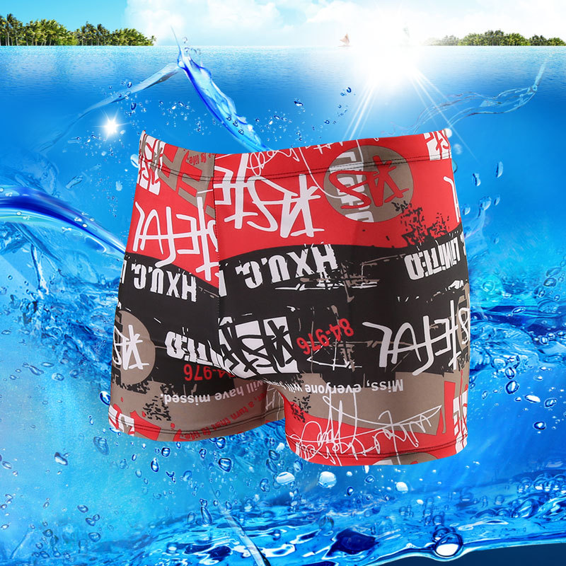 New Style MEN'S Swimming Trunks Plus-sized Boxer Four Corners Edge Hot Springs Surfing Holiday Water Park Swimming Pool