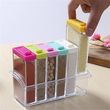 6Pcs/set Spice Jar Seasoning Box Kitchen Spice Storage Bottle Jars Transparent PP Salt Pepper Cumin Powder Box Tool