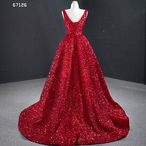 Image 5 - J67126 JANCEMBER Evening Dresses V Neck Sleeve Lace Up Back Short Before Long Shining Sequins Cuort Train Sexy Vestidos Formales