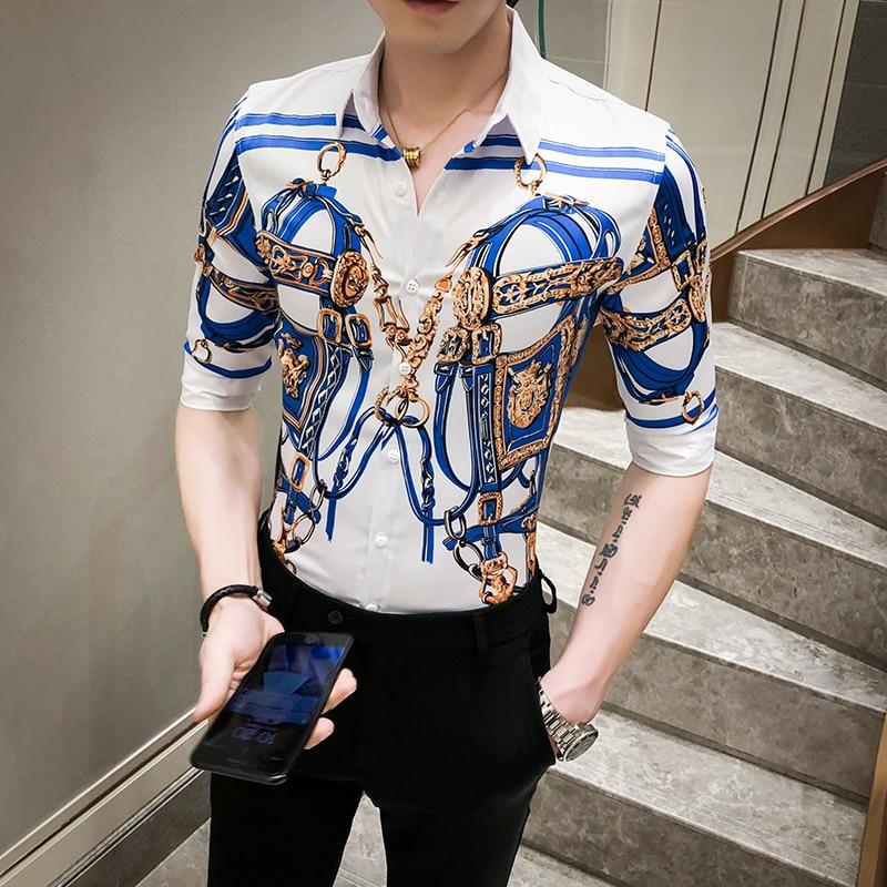 Top Quality Luxury Print Shirt Men Summer 2020 New Half Sleeve Men's Social Shirts Slim Fit Streetwear Casual Blouse Men Tuxedo