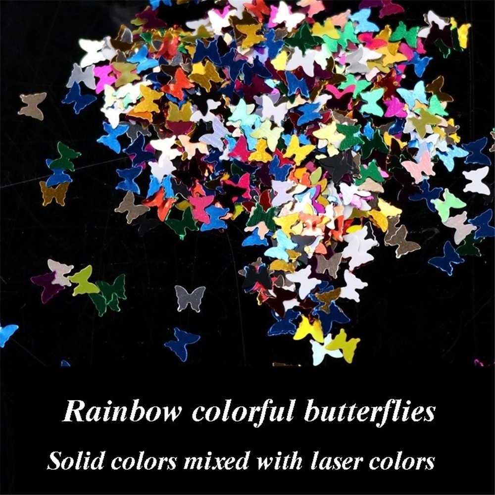 1 Kotak Campuran Ultra Tipis Payet 4 Mm Butterfiy Laser Glitter Solid 3D Kuku Paillettes Kuku Seni Dekorasi