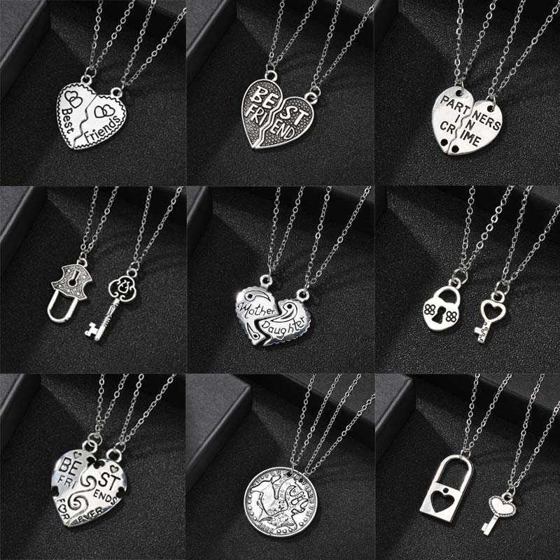Najlepszy przyjaciel 2 sztuk/zestaw serce wisiorek naszyjnik moda przyjaźń naszyjnik dla par dla kobiet mężczyzn świąteczna biżuteria upominkowa