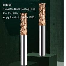Fraises en bout en carbure monobloc HRC68 revêtement en acier au tungstène à 4 cannelures