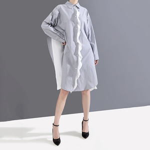 Image 4 - [Eam] 女性のストライプにスプライシング特大シャツドレス新ラペルネック長袖ルーズフィットファッションタイド春秋2020 1A882