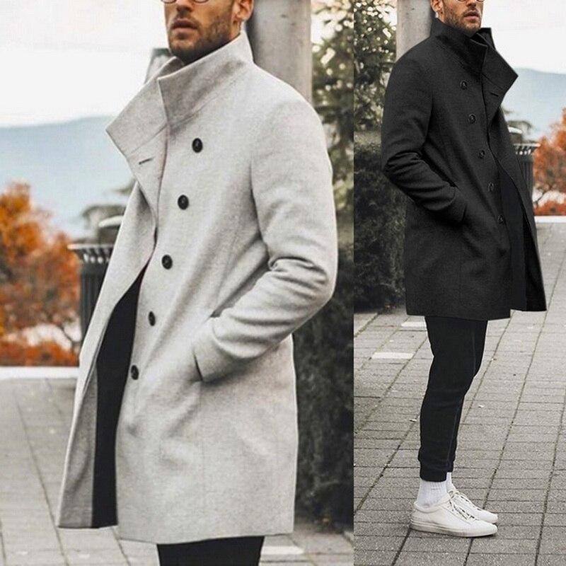 2020 Высокое качество пальто для мужчин Классический тонкий весенний Тренч мужской повседневный с карманами однотонная Длинная ветровка вин...