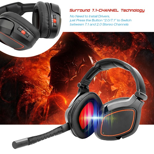 2.4G Wireless Headset <font><b>Gaming</b></font> Headset <font><b>Headphones</b></font> <font><b>Game</b></font> Earphones with 7.1 Surround Sound Rechargeable Battery for Mac PS4 PS3 PC image
