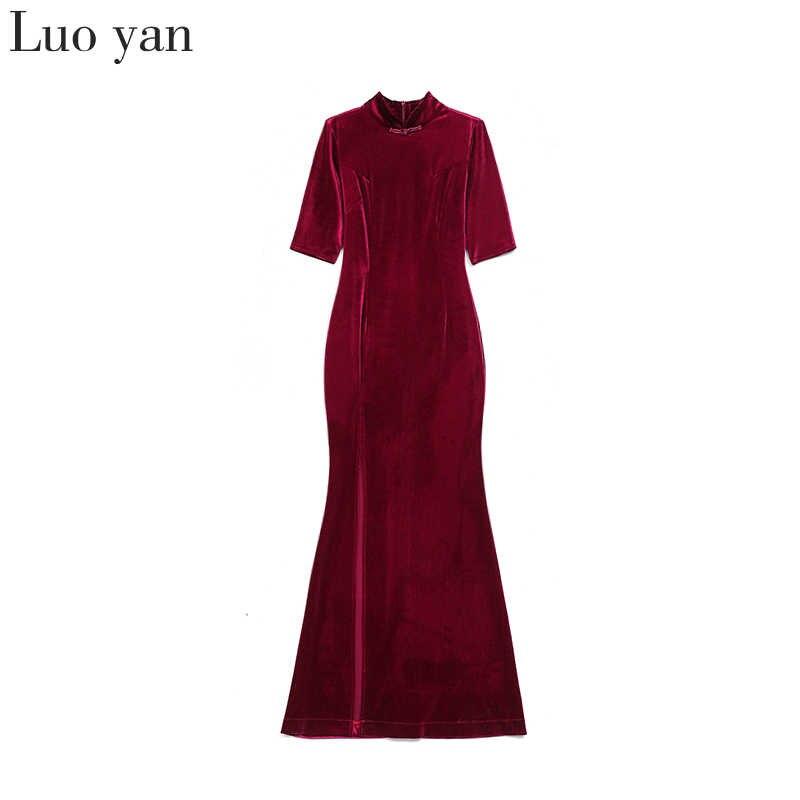 Женская одежда в китайском стиле, классическое золотистое бархатное платье с высоким разрезом, модифицированное вечернее платье Чонсам для подиума, весна 2020