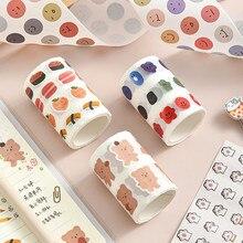 1Pcs Kawaii Expression Bear Washi Tape Decorative Adhesive Dot Masking Stickers Scrapbooking DIY Stationery Tape School Supplies