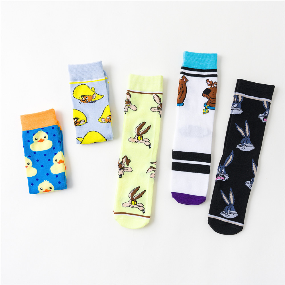 1 pair Cartoon Cotton Creative Contrast Cotton Socks Men/'s Stockings