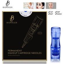 BIOMASER 10 adet tek kullanımlık kalıcı makyaj dövme iğne kartuşu mezoterapi makinesi kaş dövme dudak 12P agujas nano