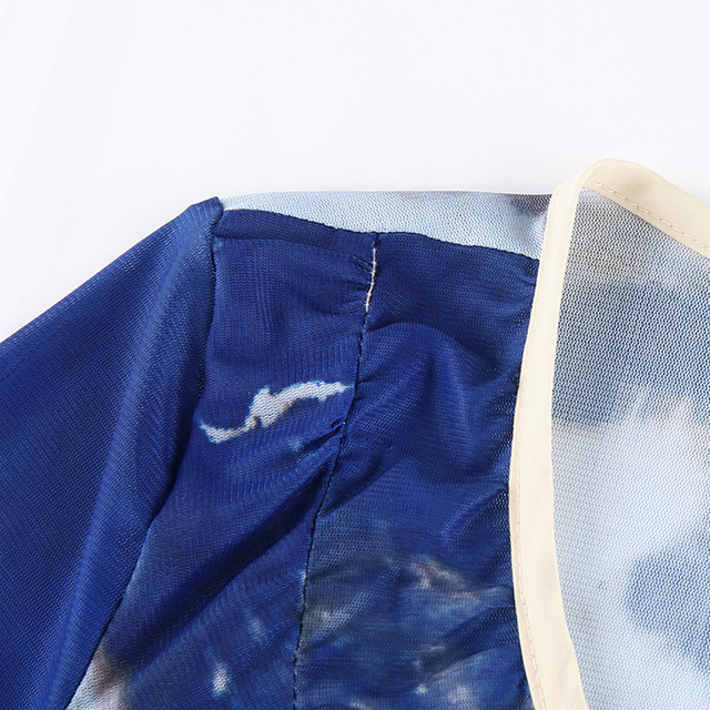 Women Tshits Tie Dye Ruffles Anomalistic Hem V-Neck Vintage Crop Tops Long-Sleeve Sexy Pretty Style T-Shirt For Womans Y2k Tops 6