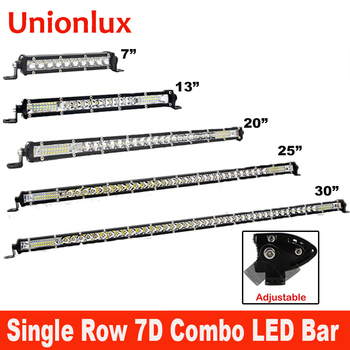 7 13 19 25 30 Super Slim 7D Offroad Car LED Work Light Bar 60W Combo Beam 20inch LED Bars for Truck SUV ATV Auto Lights image