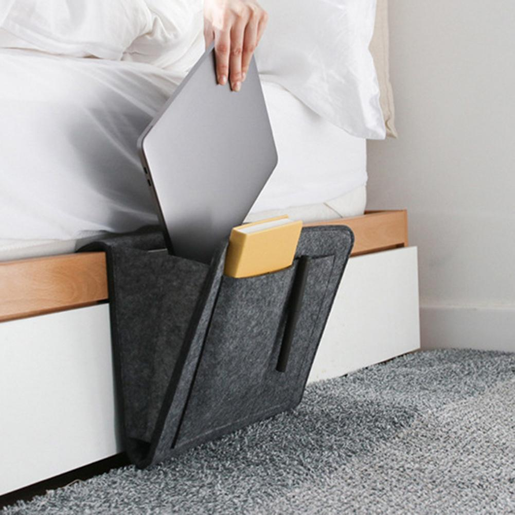 Bed Storage Bag Pockets Felt Bedside Hanging Table Sofa Bedroom Organizer Holder