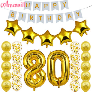 Amawill 80. Dekoracja urodzinowa baner urodzinowy złoty balon z nadrukiem happy birthday 80 lat zaopatrzenie firm zestaw 75D