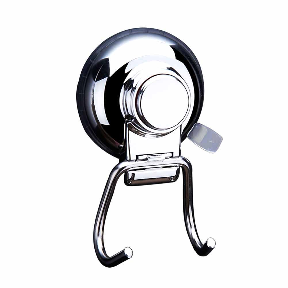 Stainless Steel Removable Vacuum Suction Cup Swivel Double Wall Hook Bathroom Kitchen Holder Hanger for Towel Robe