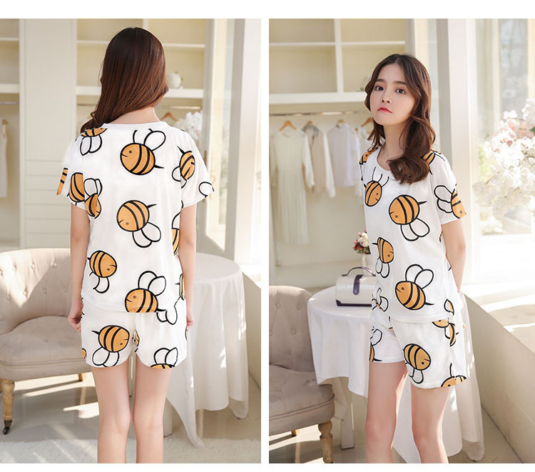 Summer Qmilch Cotton Cute Pajamas Less WOMEN'S Short-sleeved Clothes Set Students Sweet Bees Tracksuit Women's
