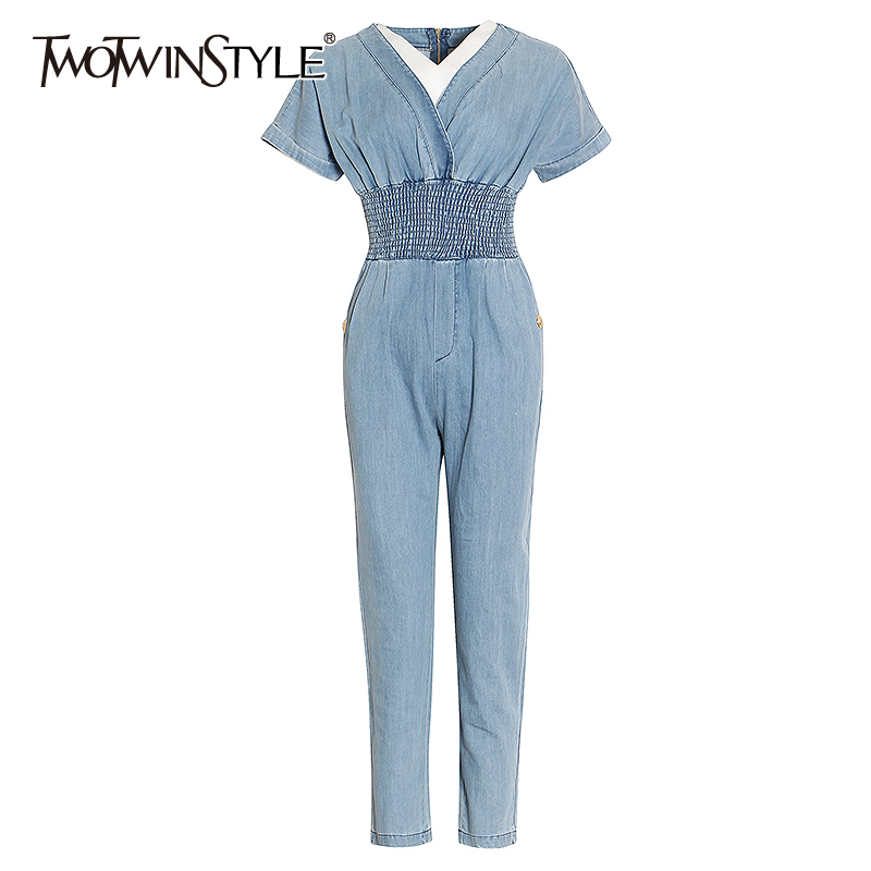 TWOTWINSTYLE Patchwork Hit Color Women Jumpsuit Short Sleeve High Waist Tunic Female Jumpsuits Spring Fashion Clothing 2020 Tide