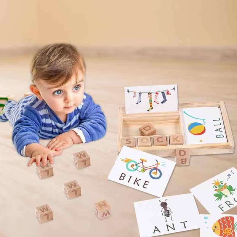 Letras de madera Candywood, juego de palabras para niños, juguetes educativos para edades tempranas para niños, juguetes de madera para aprender Montessori, juguete educativo