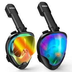 Máscara de Snorkel de cara completa vista panorámica Anti-niebla Anti-fugas de natación Snorkel máscara de buceo submarino Compatible con GoPro