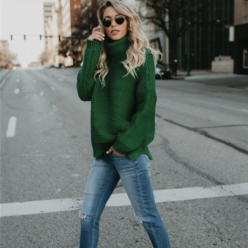 2019 Autumn And Winter New European And American Sweater Thick Line Long Sleeve High Collar Pullover Sweater Women