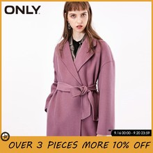 ONLY Women Covered Button Belted Double-faced Wool Coat Overcoat | 11836U506(China)