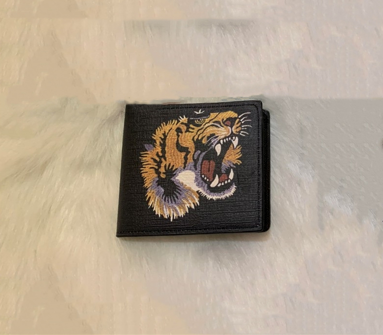 High Quality Brand Men Animal Short Wallet Leather Black Snake Tiger Bee Wallets Women Long Style Purse Wallet Card Holders