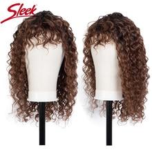 Eleganckie kręcone ludzkie włosy peruki dla kobiet głęboka fala włosy brazylijskie Remy peruki Bob peruka z grzywką TT1B27 kolorowe Ombre krótkie peruki