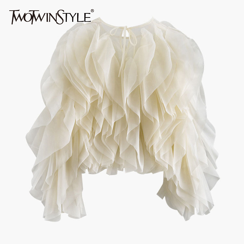 TWOTWINSTYLE Elegant Patchwork Ruffles Chiffon Blouses Women O Neck Lantern Long Sleeve Loose Shirt Female Clothing Fashion Tide