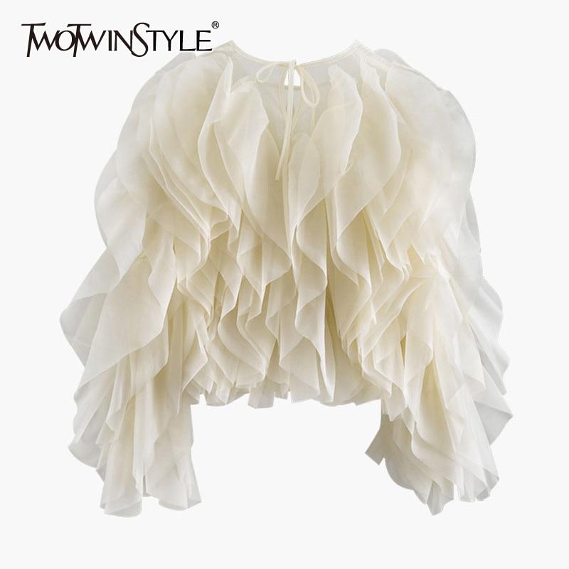 TWOTWINSTYLE Elegant Patchwork Ruffles Chiffon Blouses Women O Neck Lantern Long Sleeve Loose Shirt Female Clothing Fashion Tide