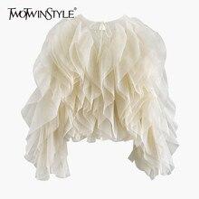 TWOTWINSTYLE Elegante Patchwork Rüschen Chiffon Blusen Frauen O Neck Laterne Lange Hülse Lose Shirt Weibliche Kleidung Mode Flut