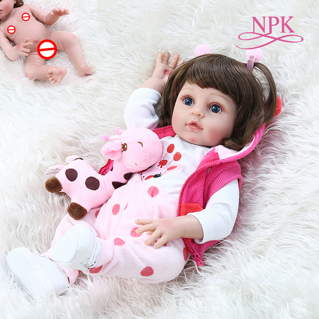 NPK 48CM popular full body soft silicone bebe doll reborn baby girl in the giraffe dress set Christmas Gift neborn baby