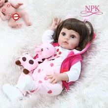 Npk 48cm popular de corpo inteiro silicone macio bebe boneca reborn bebê menina no girafa vestido conjunto presente natal neborn bebê