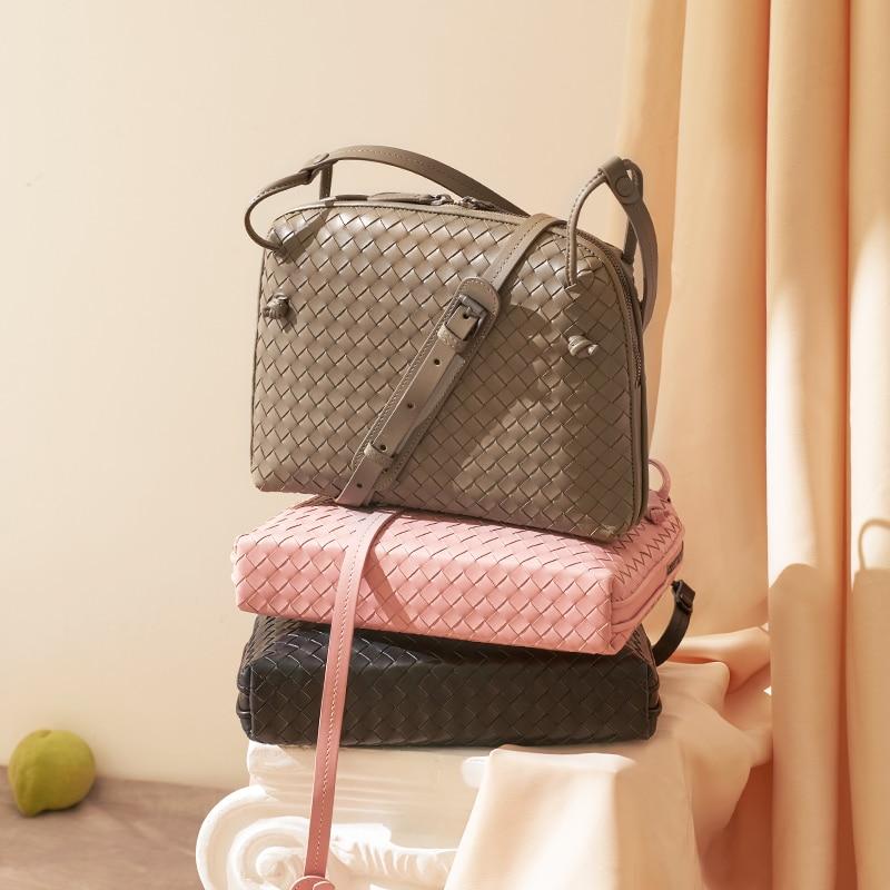 Leather Women's Shoulder Bag Luxury Brand Fashion Woven Bag Simple Shell Bag High Quality Messenger Bag 100% Sheepskin 2020 New|Shoulder Bags| - AliExpress