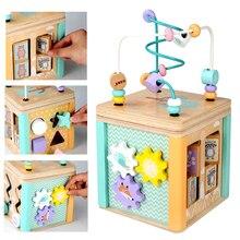 Wooden Montessori Beaded Maze Shape Recognition Toy Cartoon Clock Learning Children Preschool  kids toys educational
