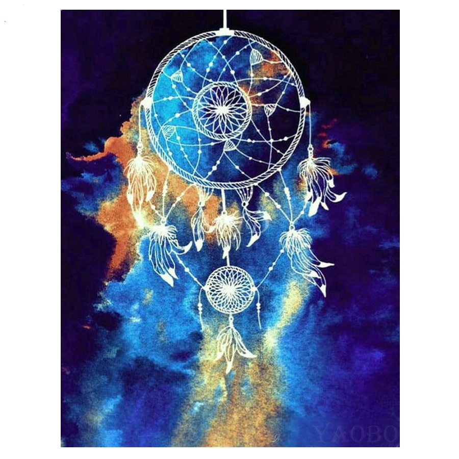5D DIY Diamond Painting Dream catcher feather Diamond Embroidery Full Round Square Mosaic Paintings by Numbers Decor Home_副本