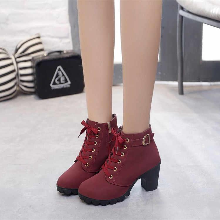 À lacets bottes femmes bloc talons Punk chaussures plateforme noir jaune marron gothique Combat bottines pour femmes grande taille 41