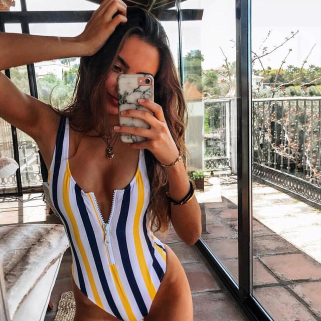 Zipper One Piece Swimsuit