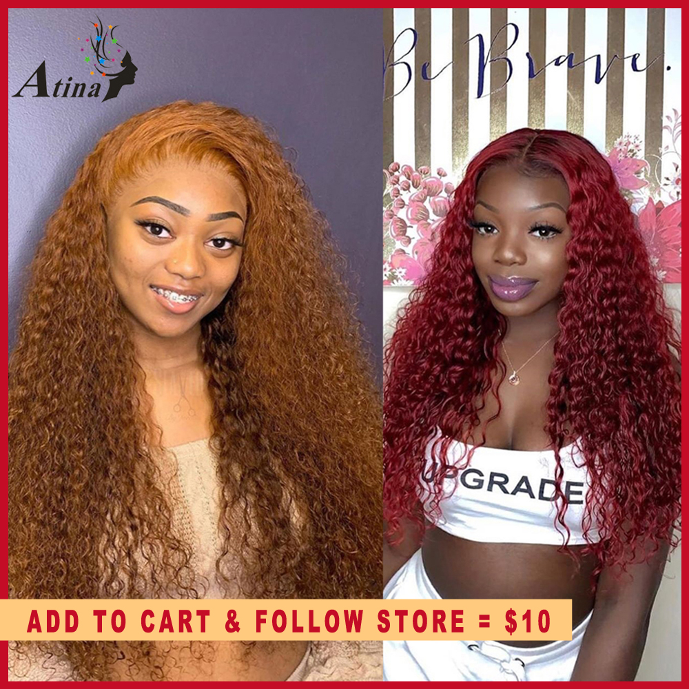 Ginger Wig 13x6 Deep Red 99j Burgundy Lace Front Wig Orange Colored Human Hair Wigs Curly HD Transparent Lace Frontal Atina Remy