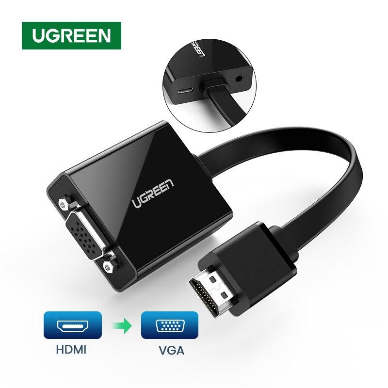 Ugreen HDMI zu VGA adapter Konverter für PS4 Raspberry Pi Laptop VGA zu HDMI 1080P Stecker Auf Famale Video audio Kabel 3,5mm Jack