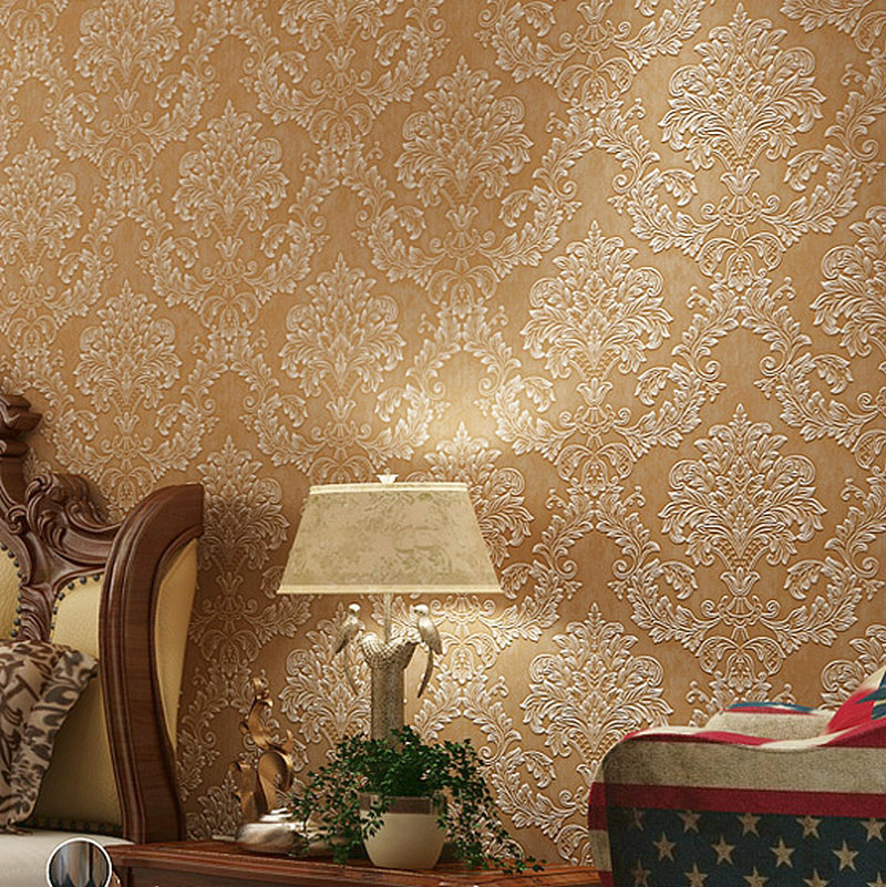 Retro Coffee European Style Damascus Non-woven Wallpaper Bedroom Living Room Hotel Stereo Wall Wallpaper 3D