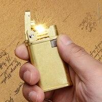 Trincheira Retro Copper Flint Lighter Bronze Homens Gadgets Gás Gasolina Querosene Óleo Mais Leve Rebolo de Metal Charuto Cigarro|Acessórios para cigarros| |  -