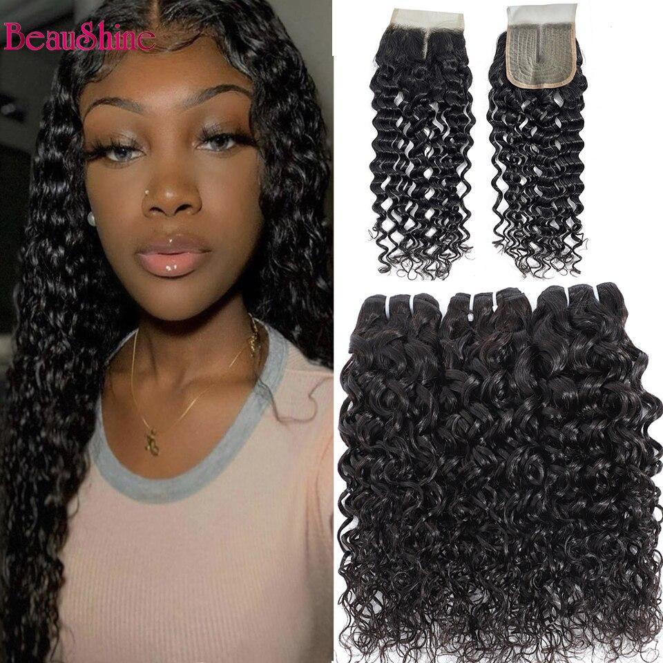Water Wave Closure With Bundles Brazilian Human Hair 3/4 Bundles With Closure Hair Weave Bundles With Closure