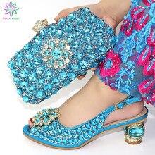 Новинка, модный итальянский комплект из обуви и сумки в африканском стиле, женские туфли на высоком каблуке и сумочка в комплекте для выпускного вечера, вечерние туфли небесно голубого цвета
