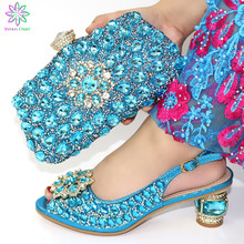 New Fashion Italian Shoes With Matching Bags African High Heel Women Shoes and Bags Set For Prom Party sky blue color shoes