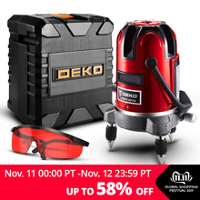 DEKO 6-Points Laser-Level Can-Use-Receiver Horizontal-Rotary 5-Lines 360 Vertical W/oxfrod-Case