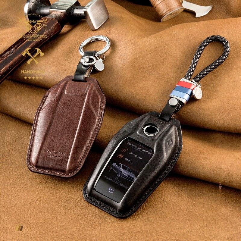 Роскошный чехол из натуральной кожи для автомобильных светодиодный Дисплей ключ крышка чехол для BMW 5 7 серии G11 G12 G30 G31 G32 i8 I12 I15 G01 X3 G02 G05 X5 G07