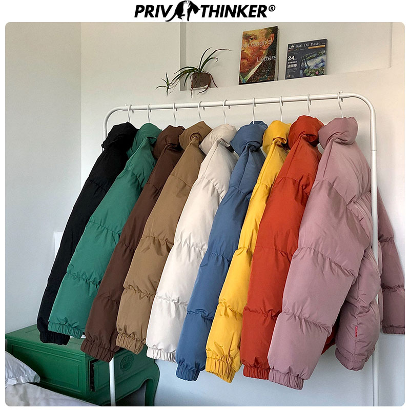 Privathinker Men Korean 2019 Winter Solid Jackets Parkas Male Fashion Loose Coats Outwear Mans Warm Thick Solid Jacktes Oversize