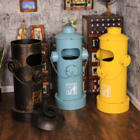 Industrial Style Fire Hydrant Trash Can Retro Distressed Iron Storage Bucket Creative Oil Barrel Floor Decoration Home Decor