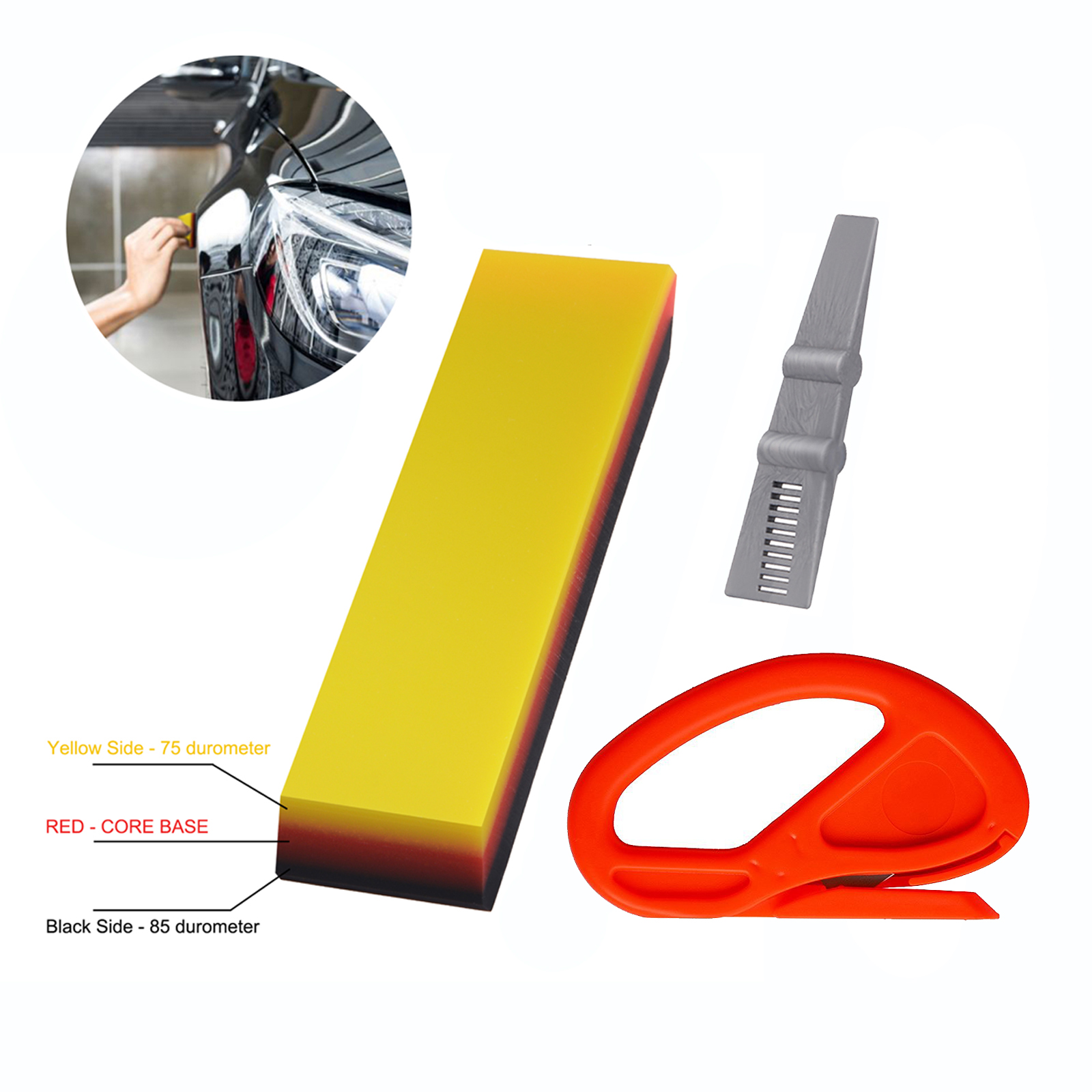 EHDIS Carbon Car Wrap Vinyl Tool Protective Foil Film Install Soft TPU Squeegee Scraper Metal Knife Window Tint Styling Tool Kit